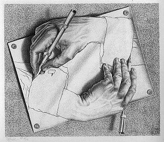 Programs that Generate Programs, Illustrated by M.C.Escher's Drawing Hands (fair use, see http://en.wikipedia.org/wiki/File:DrawingHands.jpg)
