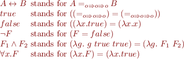 \begin{equation*}\begin{array}{l@{\mbox{ stands for }}l} A \leftrightarrow B & A =_{o \Rightarrow o \Rightarrow o} B \\ true & (({=}_{o \Rightarrow o \Rightarrow o}) = ({=}_{o \Rightarrow o \Rightarrow o})) \\ false & ((\lambda x. true) = (\lambda x. x) \\ \lnot F & (F = false) \\ F_1 \land F_2 & (\lambda g.\ g\ true\ true) = (\lambda g.\ F_1\ F_2) \\ \forall x. F &  (\lambda x. F) = (\lambda x. true) \\ \end{array} \end{equation*}